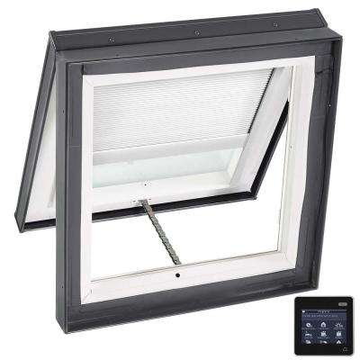 30-1/2 in. x 30-1/2 in. Venting Curb-Mount Skylight Laminated Low-E3 Glass White Solar Powered Room Darkening Blind