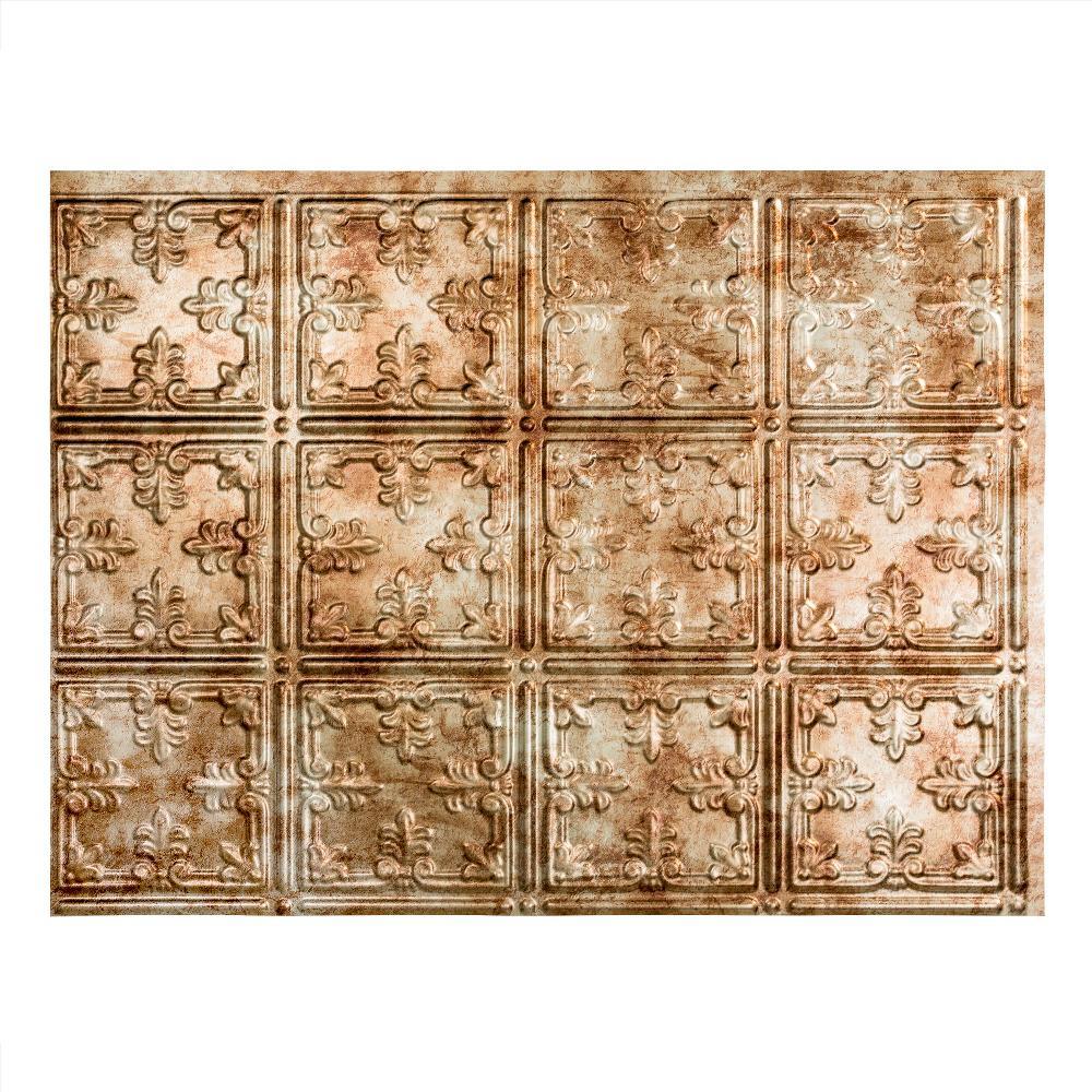 Traditional 10 18 in. x 24 in. Bermuda Bronze Vinyl Decorative Wall Tile Backsplash 18 sq. ft. Kit