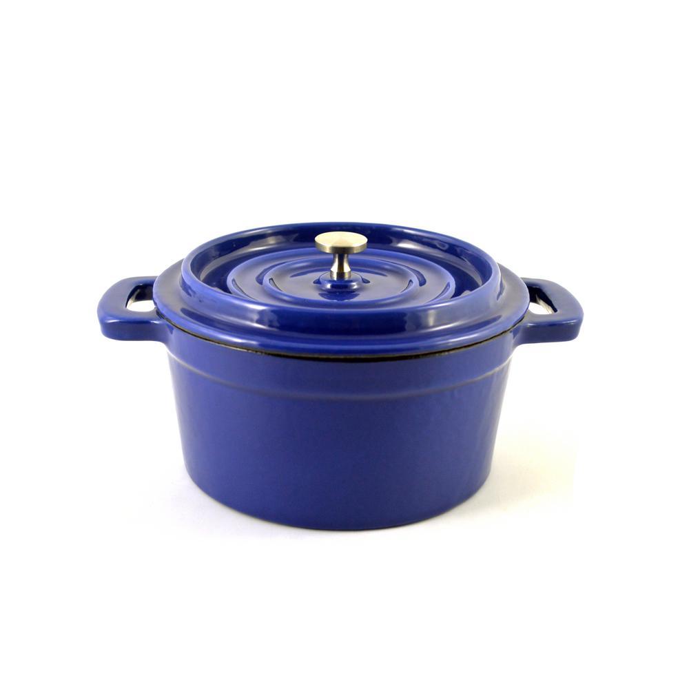9 oz. Blue Mini Enamel Cast Iron Dutch Oven