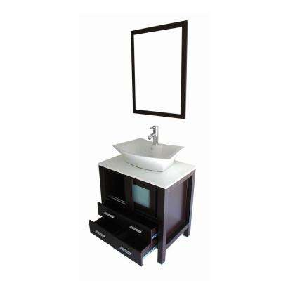 Daniel 30 in. Vanity in Espresso with Marble Vanity Top in White and Mirror