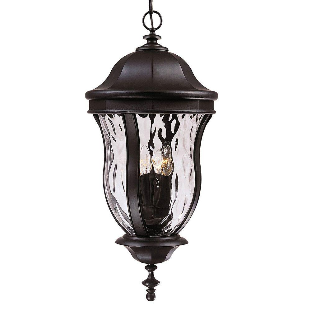 Illumine 4-Light Outdoor Hanging Black Lantern with Clear Watered Glass