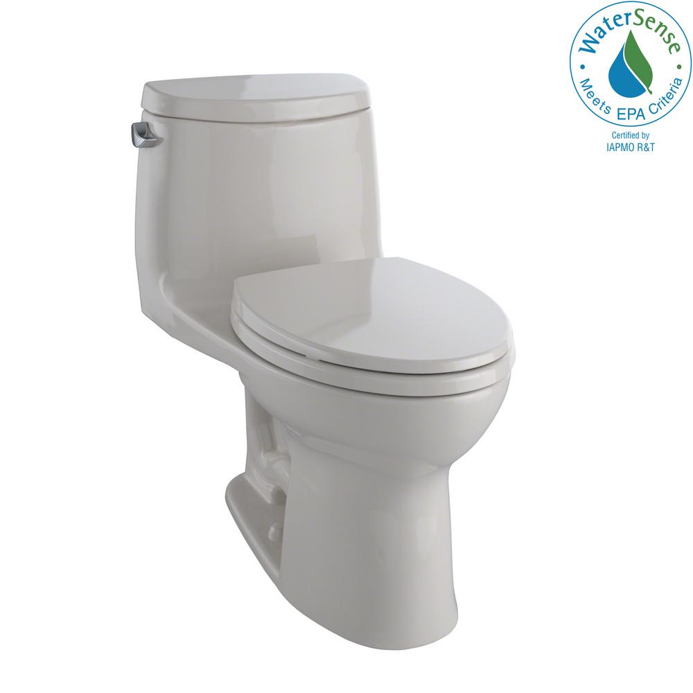 TOTO UltraMax II 1-Piece 1.28 GPF Single Flush Elongated Toilet with ...