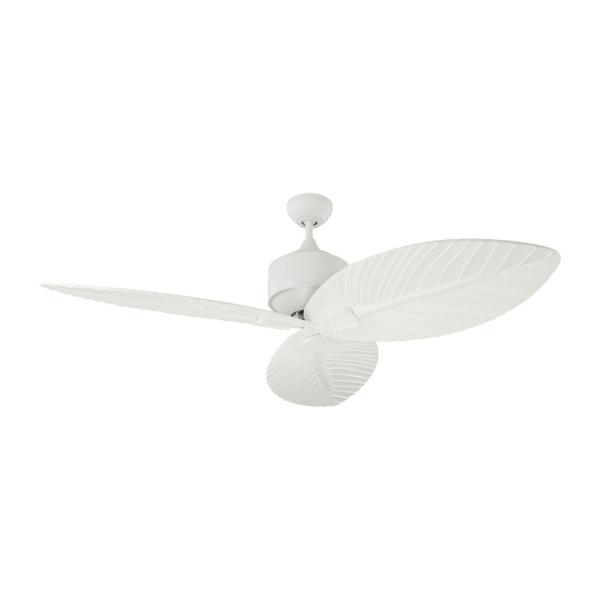 Delray 56 in. Indoor/Outdoor Matte White Ceiling Fan with White Blades, DC Motor and Remote Control