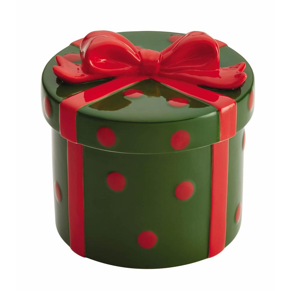 Serveware Stoneware Cookie Jar with Holiday Gift in Green and Red