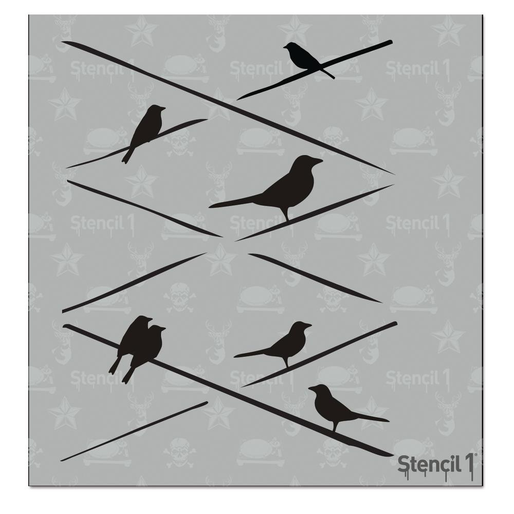 Stencil1 Birds On Wires Small Stencil S1pa21s The Home Depot