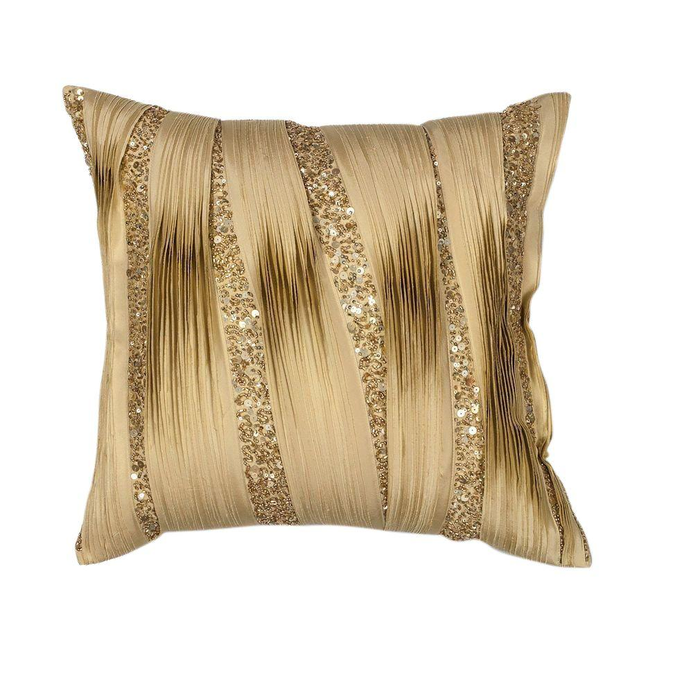 Kas Rugs Ribbons Gold Sequins Decorative Pillow