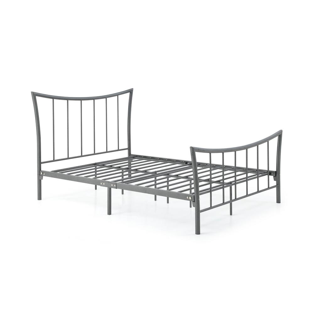 HODEDAH Complete Metal Charcoal Queen Bed with Headboard, Footboard, Slats  and Rails