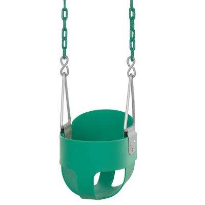 High Back Full Bucket Toddler and Baby Swing - Vinyl Coated Chain - Fully Assembled - Green
