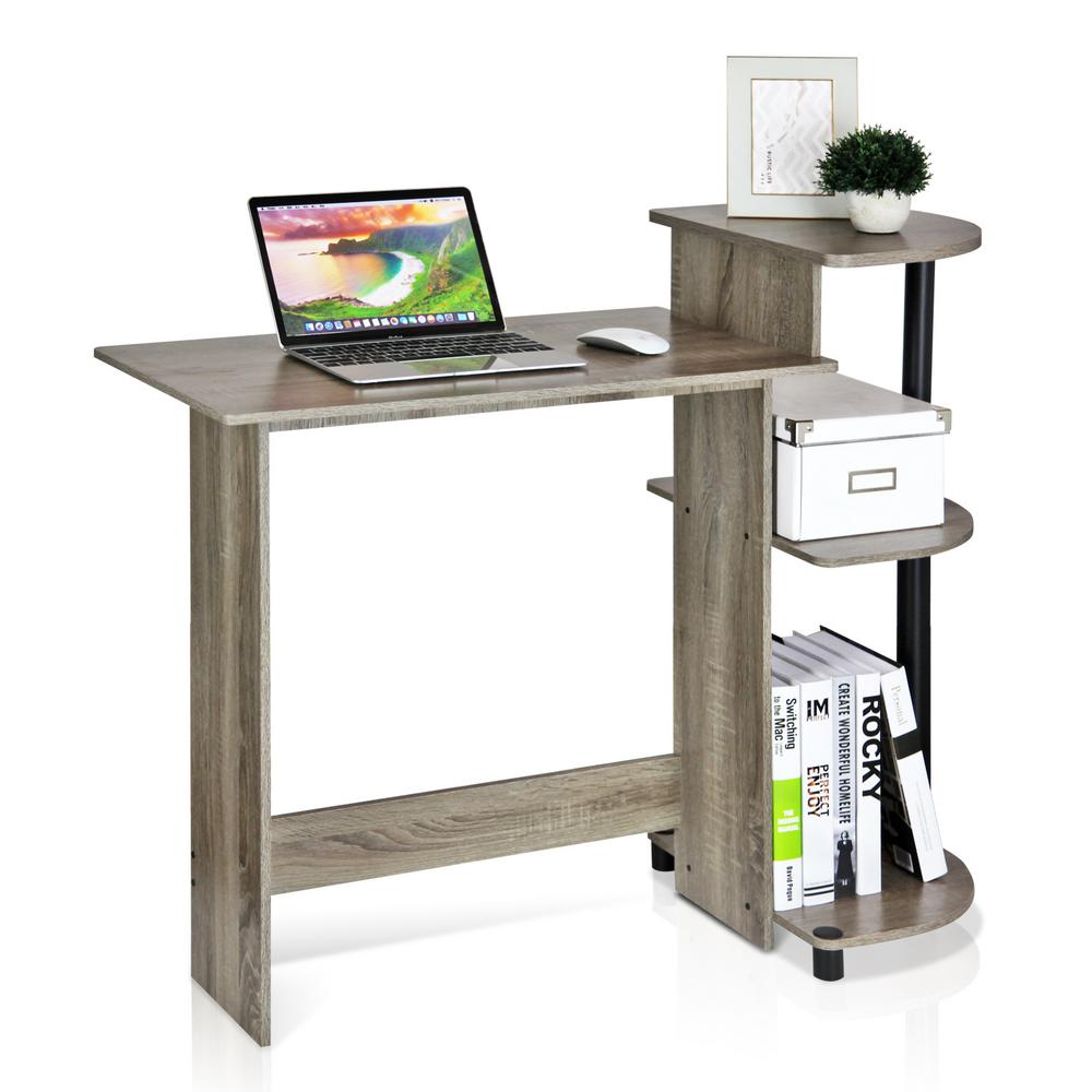 Furinno Compact French Oak Grey Computer Desk