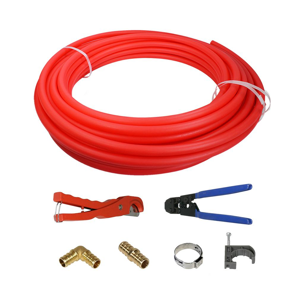 the plumber 39 s choice 1 2 in x 300 ft pex tubing plumbing kit with crimper cutter tools barb. Black Bedroom Furniture Sets. Home Design Ideas