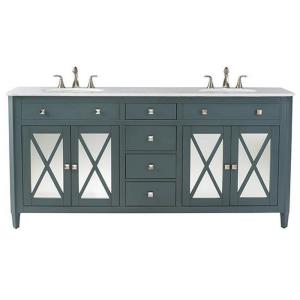 Home Decorators Collection Barcelona 73 inch W x 22 inch D Double Bath Vanity in Teal Blue... by Home Decorators Collection