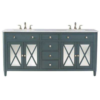 Barcelona 73 in. W x 22 in. D Double Bath Vanity in Teal Blue with China White Marble Top and White Basin
