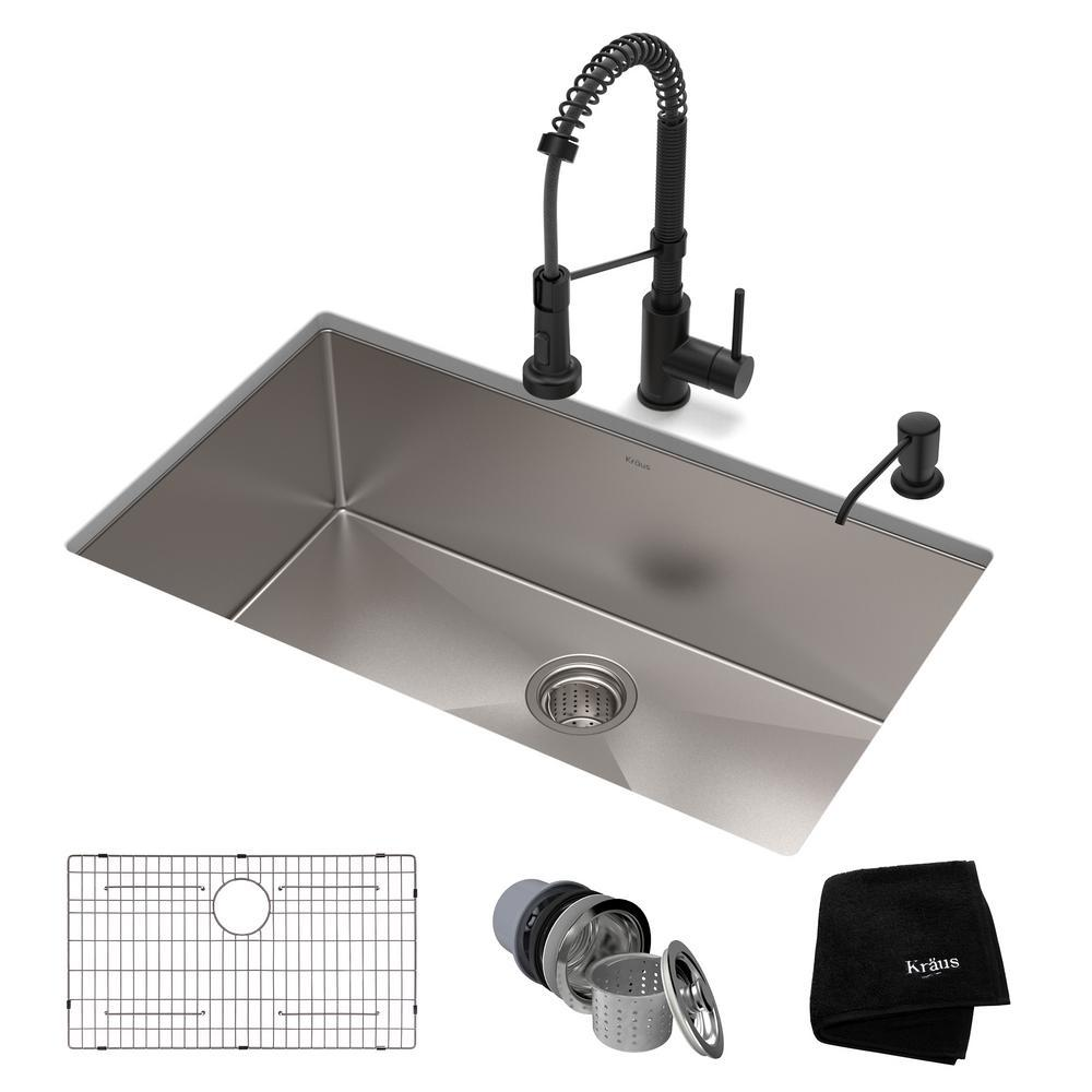 KRAUS Standart PRO All-in-One Undermount Stainless Steel 30 in. Single Bowl  Kitchen Sink with Faucet in Matte Black