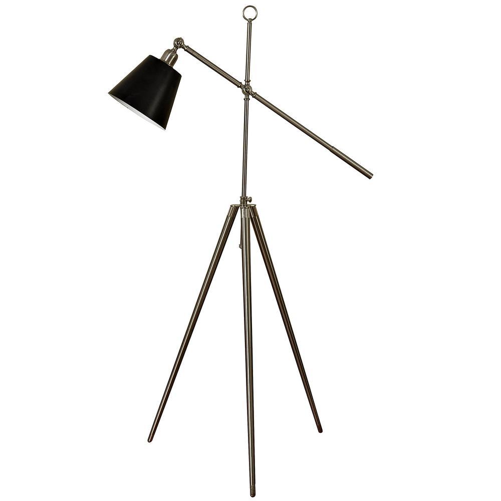 67 in. Brushed Steel Floor Lamp with Black Metal Shade