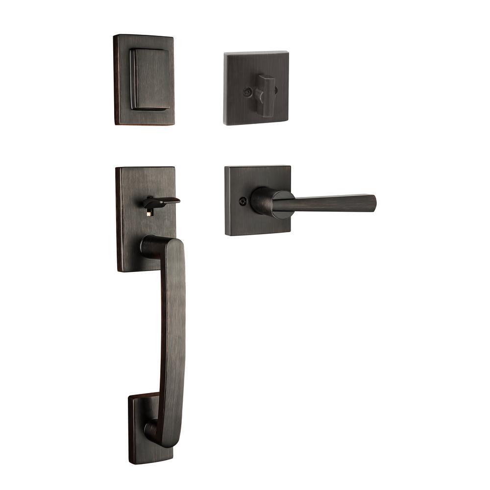 Prestige Spyglass Single Cylinder Venetian Bronze Door Handleset with Square Spyglass Lever Featuring SmartKey Security