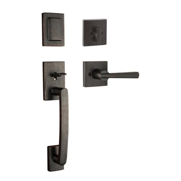 Prestige Spyglass Single Cylinder Venetian Bronze Door Handleset with Square Spyglass Door Lever feat SmartKey Security