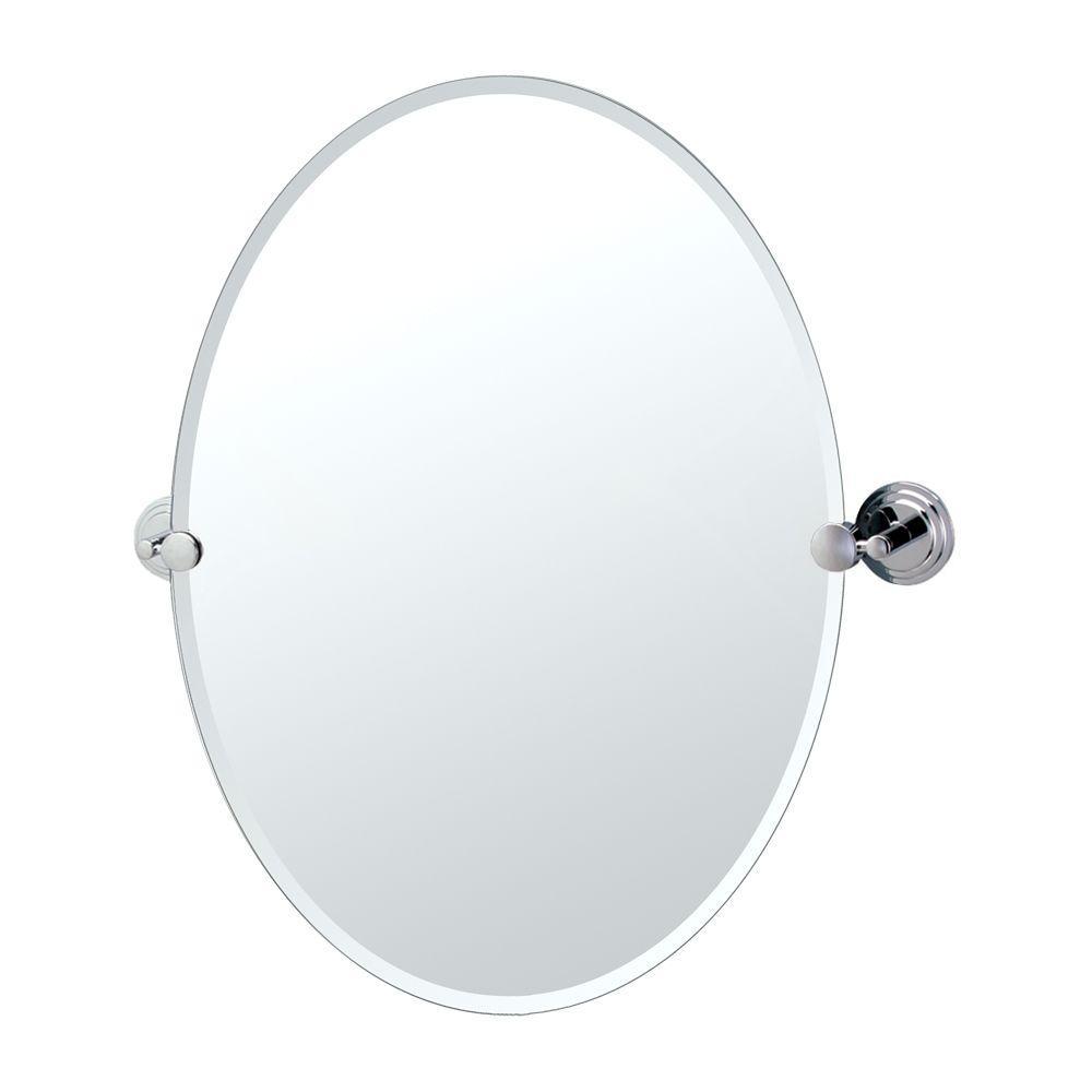 Marina 27 in. x 24 in. Beveled Single Oval Mirror in Chrome