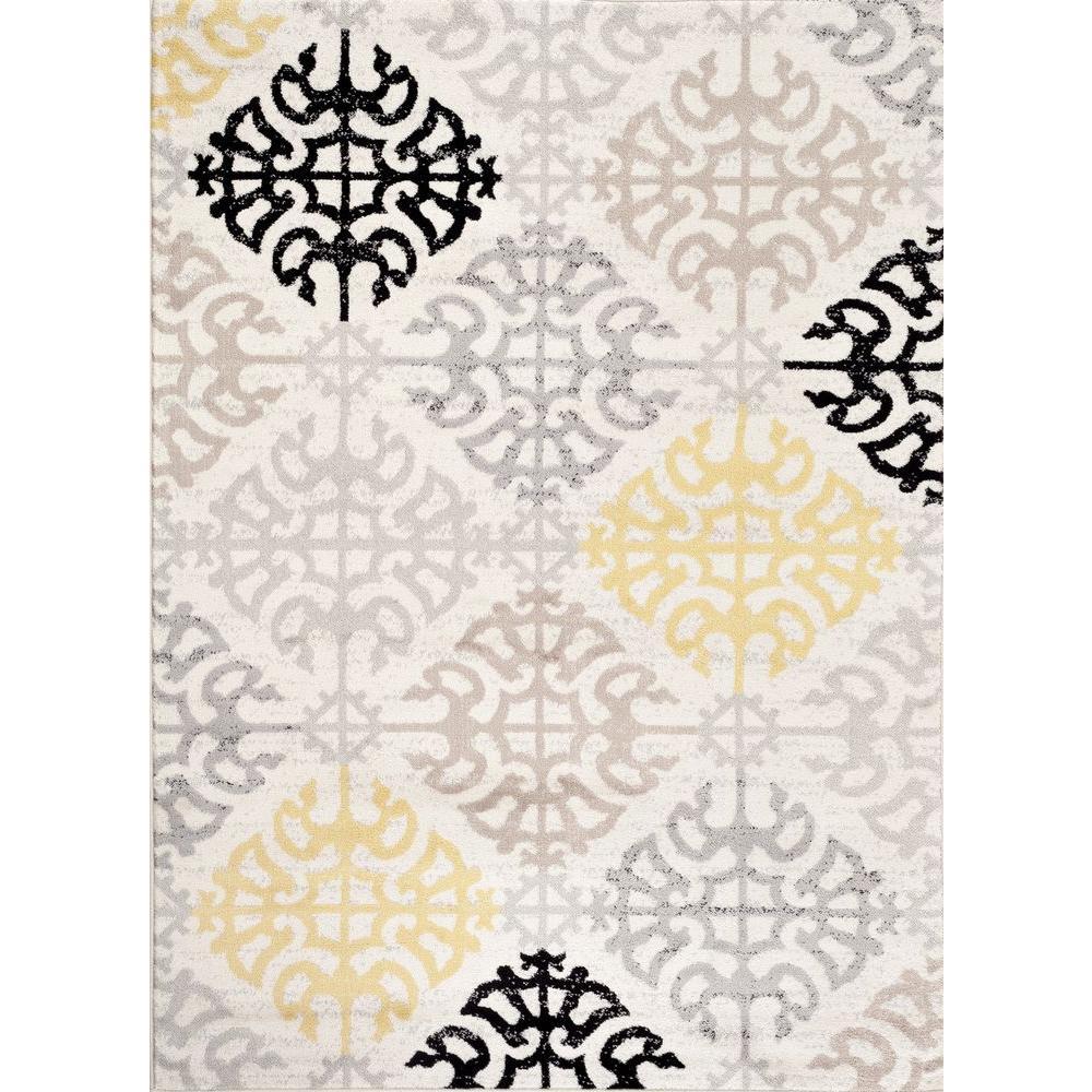 Contemporary Geometric Design Cream 5 ft. 3 in. x 7 ft. 3 in. Indoor Area Rug