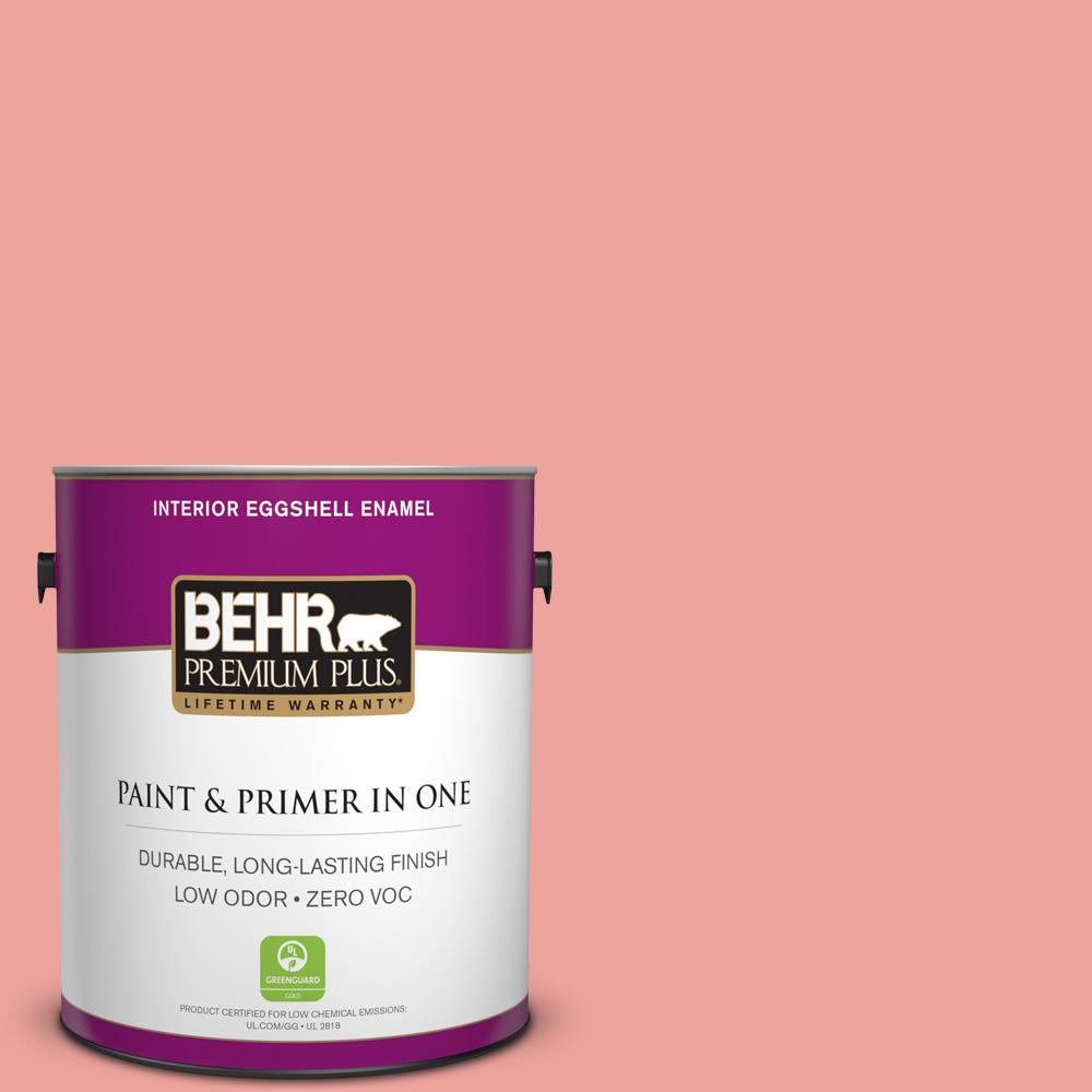 BEHR Premium Plus 1-gal. #160B-4 Modestly Peach Zero VOC Eggshell Enamel Interior Paint