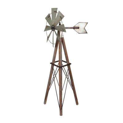 59 in. Tall Metal and Wood Windmill Yard Decor