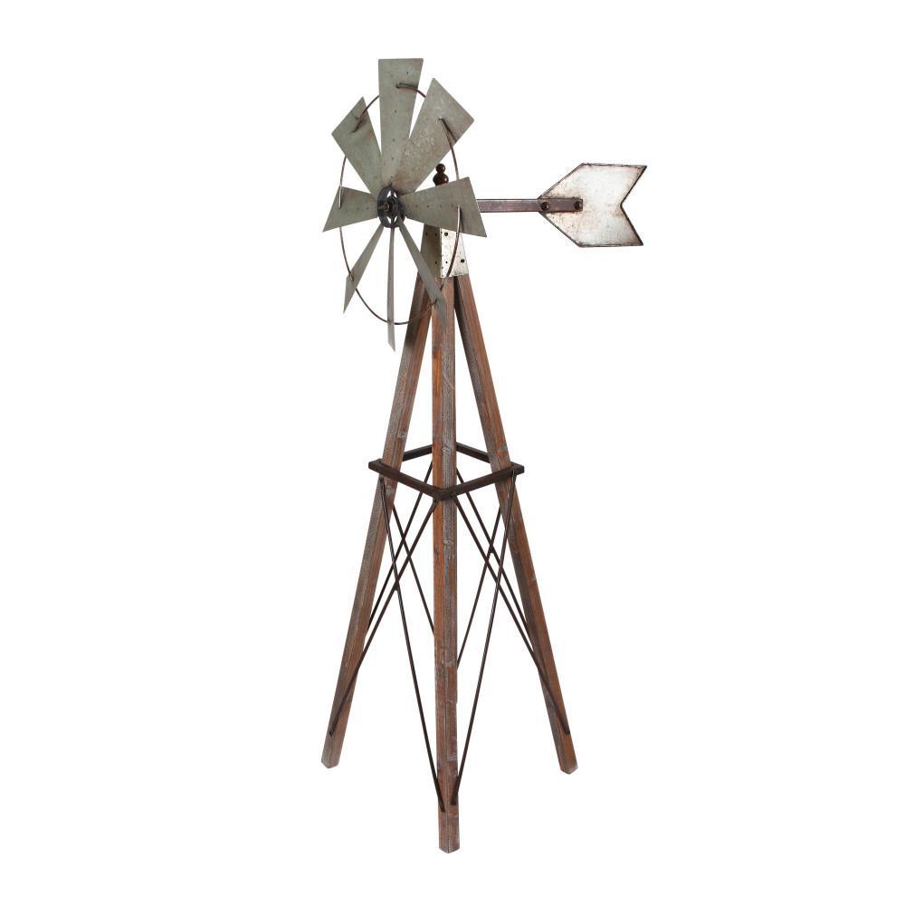 59 in. Tall Metal and Wood Windmill Yard Decor