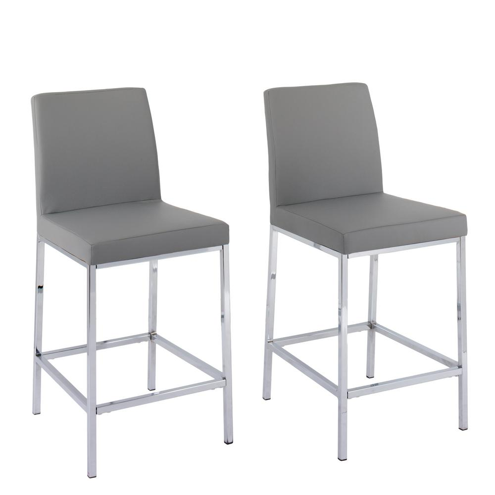 Corliving Huntington 25 In Grey Leatherette Cushioned Bar Stool