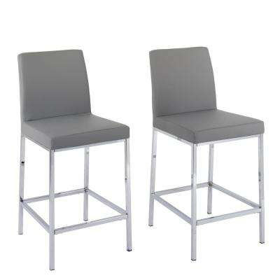 Huntington 25 in. Grey Leatherette Cushioned Bar Stool (Set of 2)