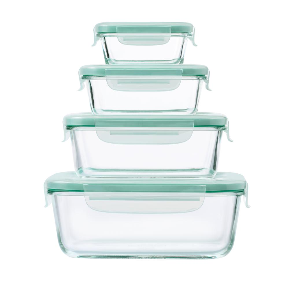 Delightful OXO Good Grips 8 Piece Smart Seal Glass Rectangle Container Set