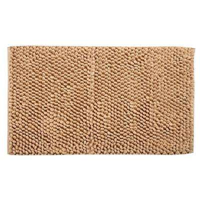 Bubbles Pattern 50 in. x 30 in. Cotton and Microfiber Beige Latex Spray Non-Skid Backing Bath Rug