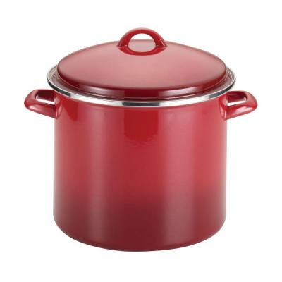 Classic Brights 12 qt. Steel Stock Pot in Red with Lid