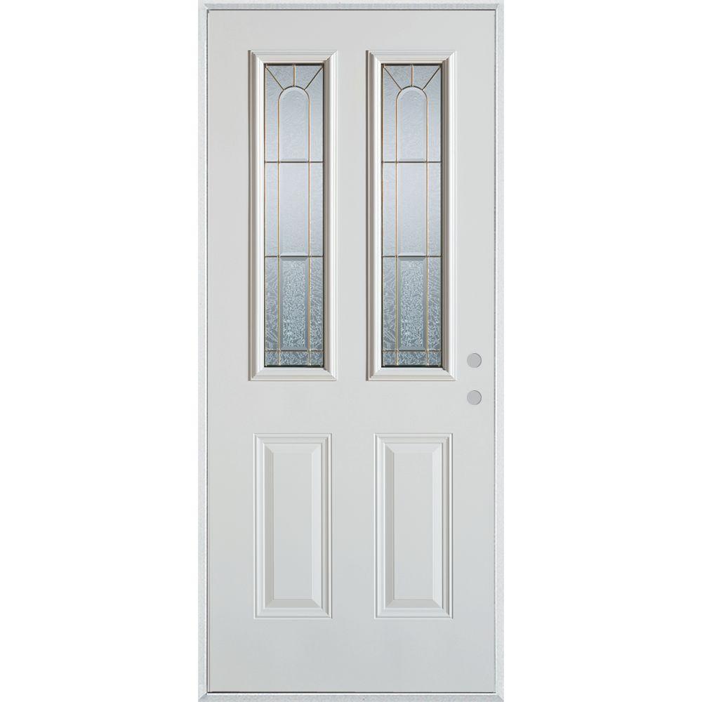 36 in. x 80 in. Geometric Brass 2 Lite 2-Panel Painted White Left-Hand Inswing Steel Prehung Front Door