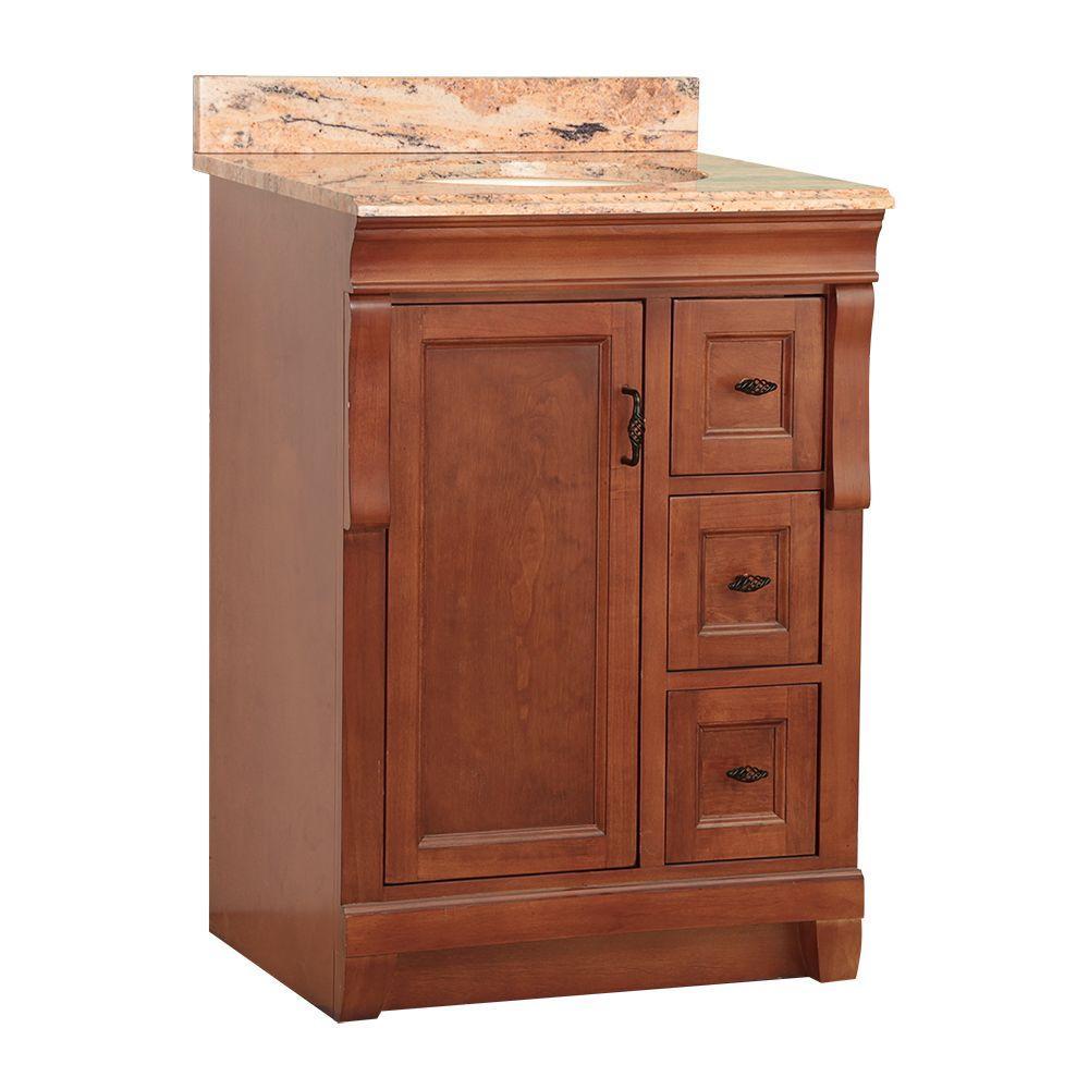 Home Decorators Collection Naples 25 in. W x 22 in. D Bath Vanity in Warm Cinnamon with Granite Vanity Top in Bordeaux