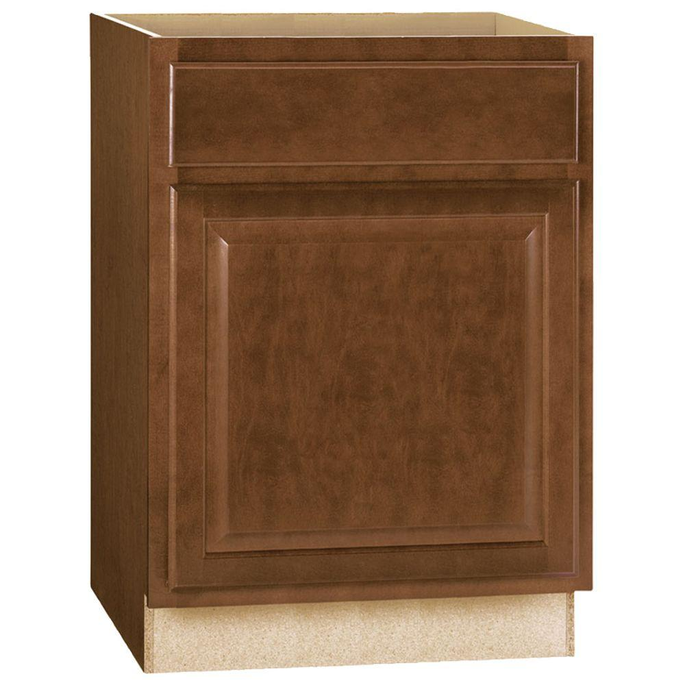 Hampton Bay Hampton Assembled 24x34.5x24 in. Base Kitchen Cabinet with Ball-Bearing Drawer Glides in Cognac