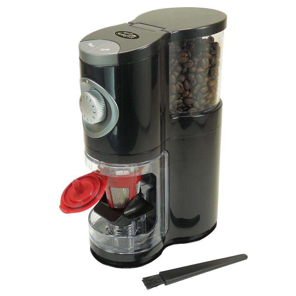Sologrind Coffee Grinder, Black/Grey The Sologrind is a automatic burr grinder with built-in doser. The Sologrind automatically grinds then drops precise amounts of ground coffee into solofill cup. Solofill cup at the touch of a button. Color: Blk/Chrome.