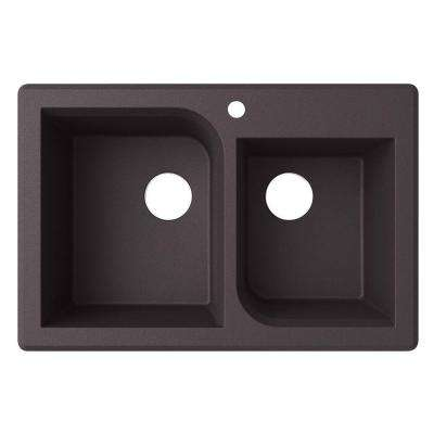 Drop-In/Undermount Granite 33 in. 1-Hole 55/45 Double Bowl Kitchen Sink in Nero