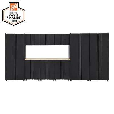 Welded 163 in. W x 75 in. H x 19 in. D Steel Garage Cabinet Set in Black (10-Piece with Solid Wood Work Surface)