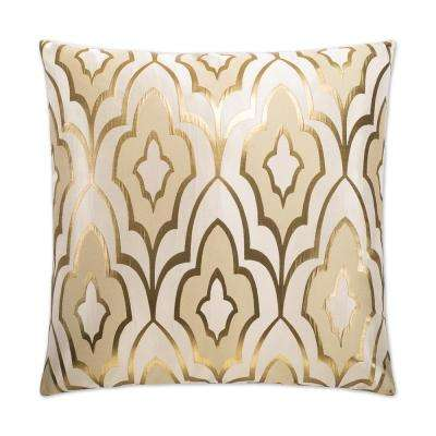 Art Deco Gold Feather Down 24 in. x 24 in. Standard Decorative Throw Pillow