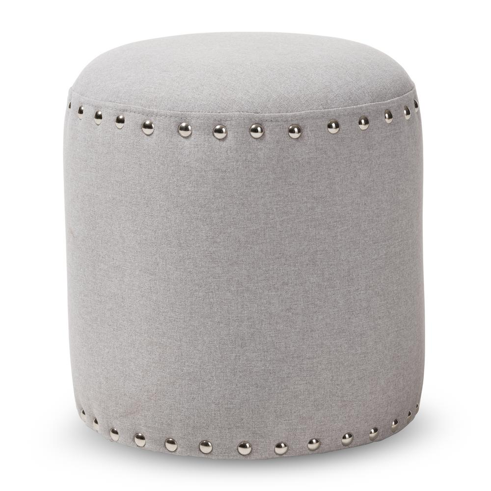 Prime Baxton Studio Rosine Light Gray Nailhead Trim Ottoman 143 Inzonedesignstudio Interior Chair Design Inzonedesignstudiocom