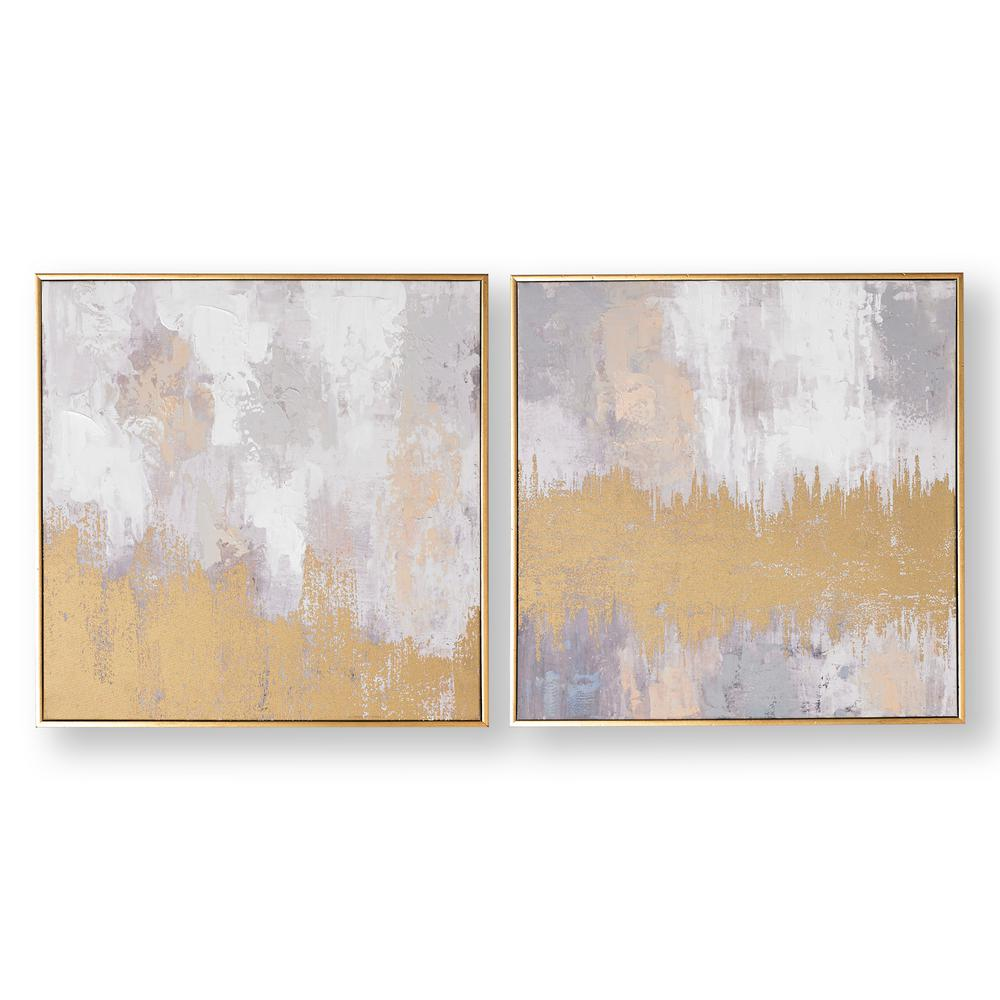 "GrahamBrown Graham & Brown 20 in. x 20 in. ""Laguna Mist"" Framed Canvas Wall Art, Gray and Gold"