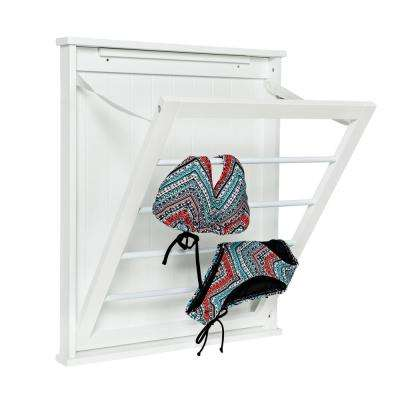 23 in. x 27.25 in. White Single Wall Mount Dry Rack
