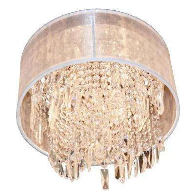 Tempest 4-Light Chrome Crystal Flush Mount with White Organza Shade