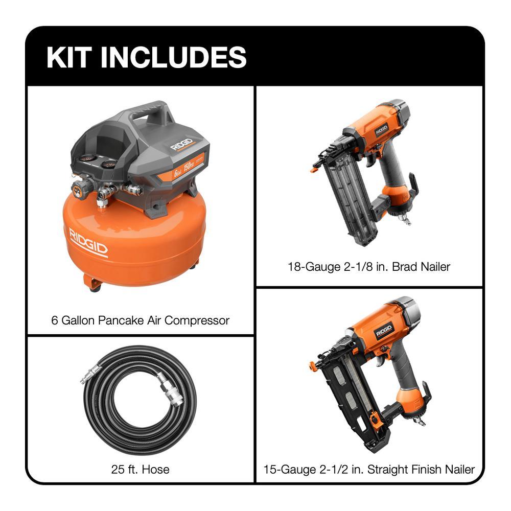 6 Gal. Electric Pancake Air Compressor Kit with 18-Gauge 2-1/8 in. Brad Nailer and 16-Gauge 2-1/2 in. Finish Nailer