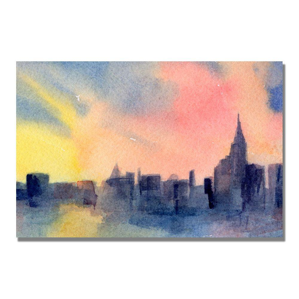 Trademark Fine Art 22 in. x 32 in. New York Skyline Sunset Canvas Art-DISCONTINUED