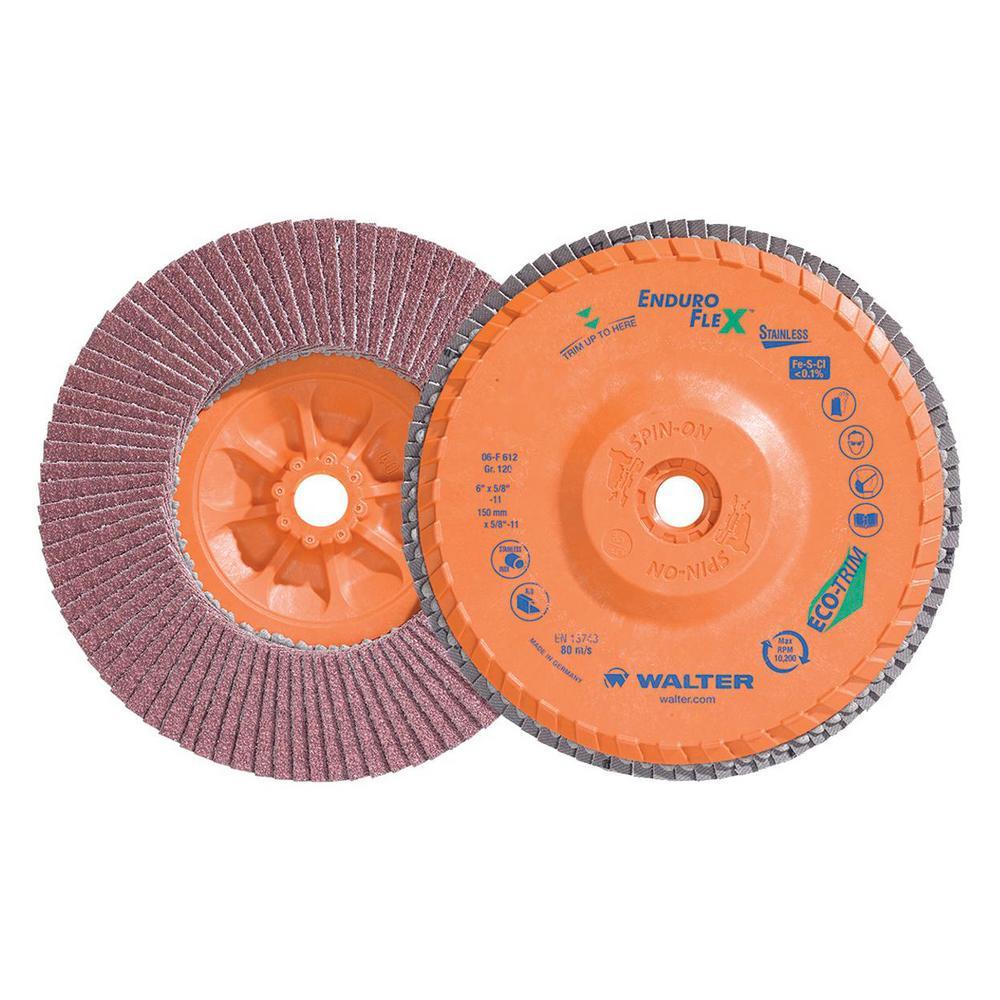 ENDURO-FLEX Stainless 6 in. x 5/8-11 in. Arbor GR120, Blending Flap Disc (10-Pack)