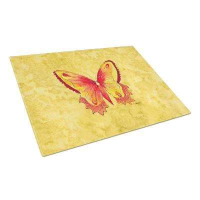 Butterfly on Yellow Tempered Glass Large Cutting Board