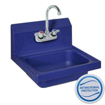 Ion Antimicrobial Hand Sink Bowl with Drain WorkForce 4 in. OC SM Faucet in Blue