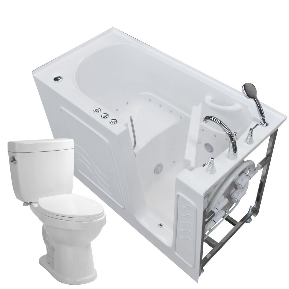 Universal Tubs Nova Heated 60 in. Walk-In Air Bath Tub in White with ...