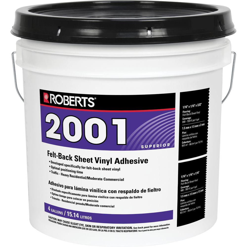 Roberts 2001 4 Gal. Felt-Back Sheet Vinyl Glue Adhesive, Superior Grade