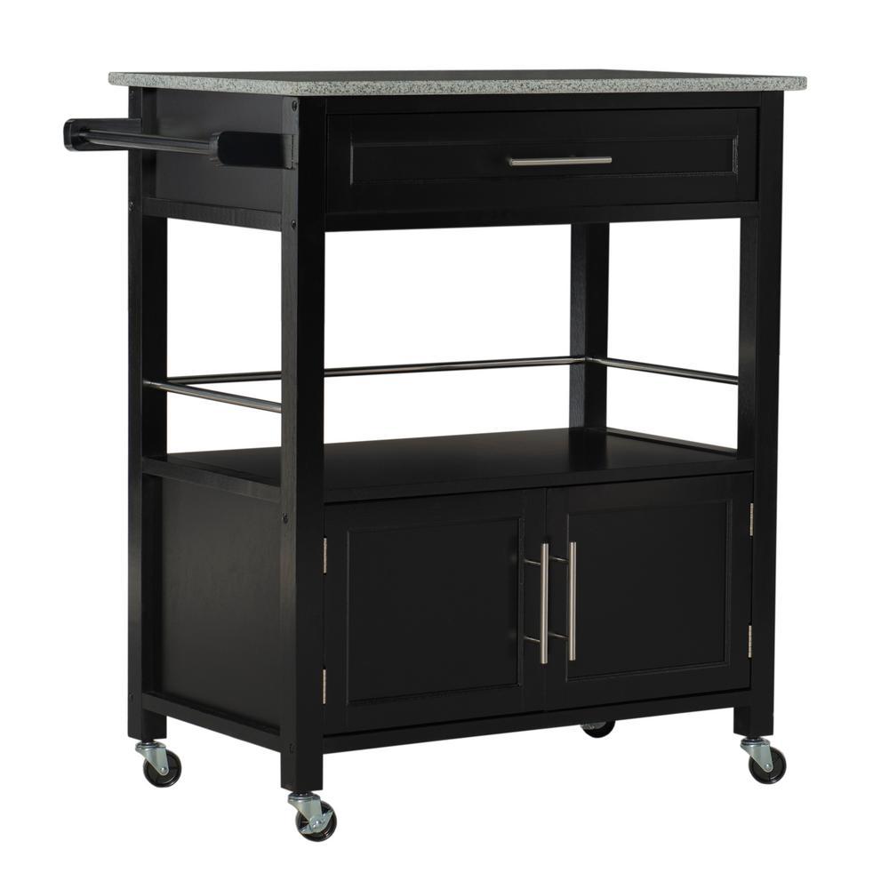 Cameron Black Kitchen Cart With Storage