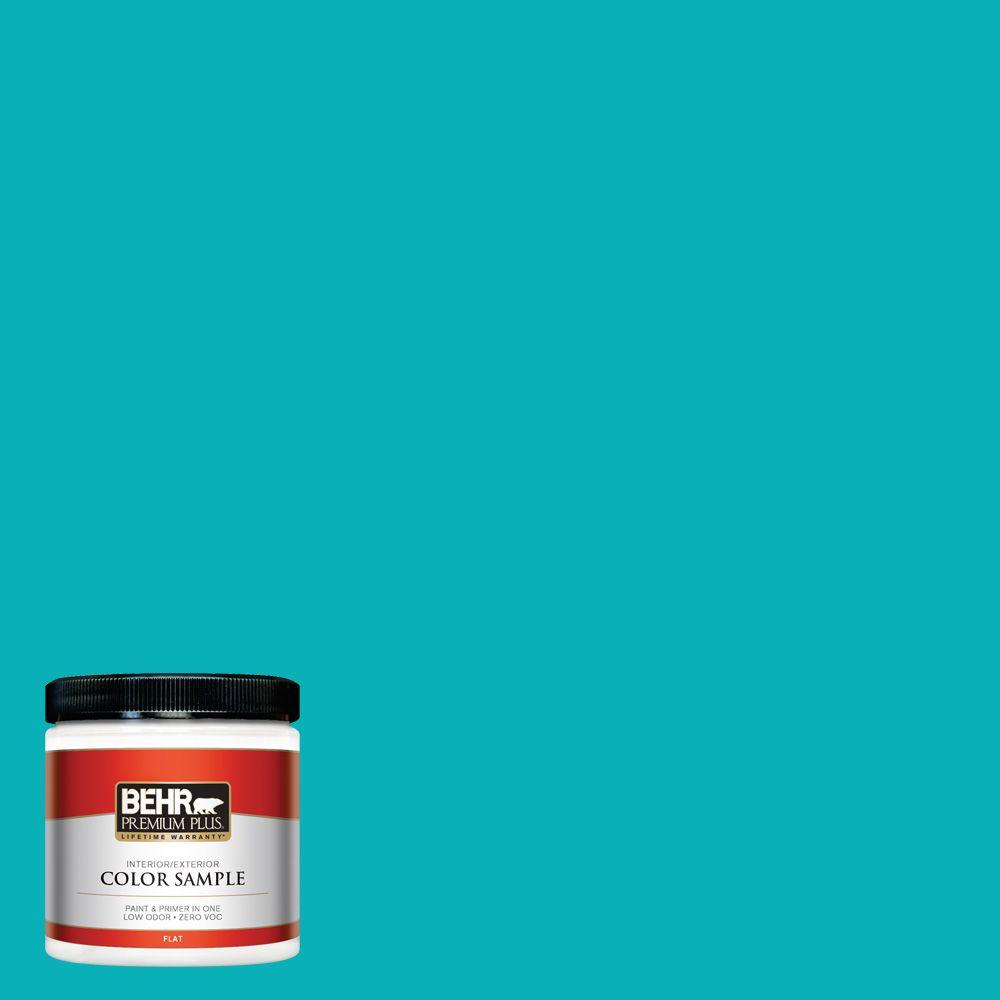 BEHR Premium Plus 8 oz. #500B-5 Mermaid Treasure Flat Interior/Exterior Paint and Primer in One Sample